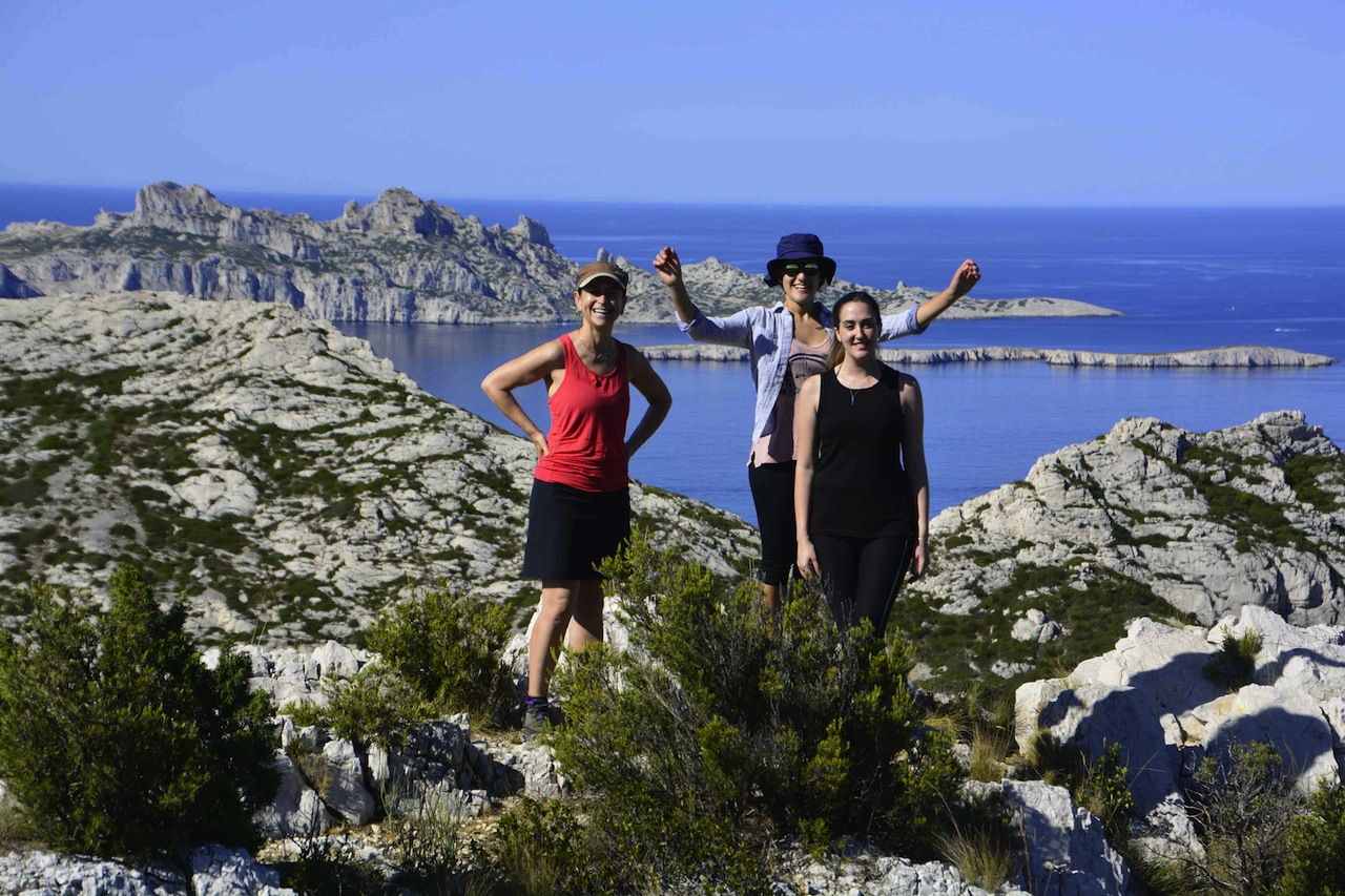 Hikers in the Calanques with Riou